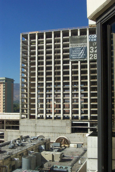 The former hotel tower of the Flamingo, as seen from Lou's room at Fitzgerald's.<br /> [Reno]