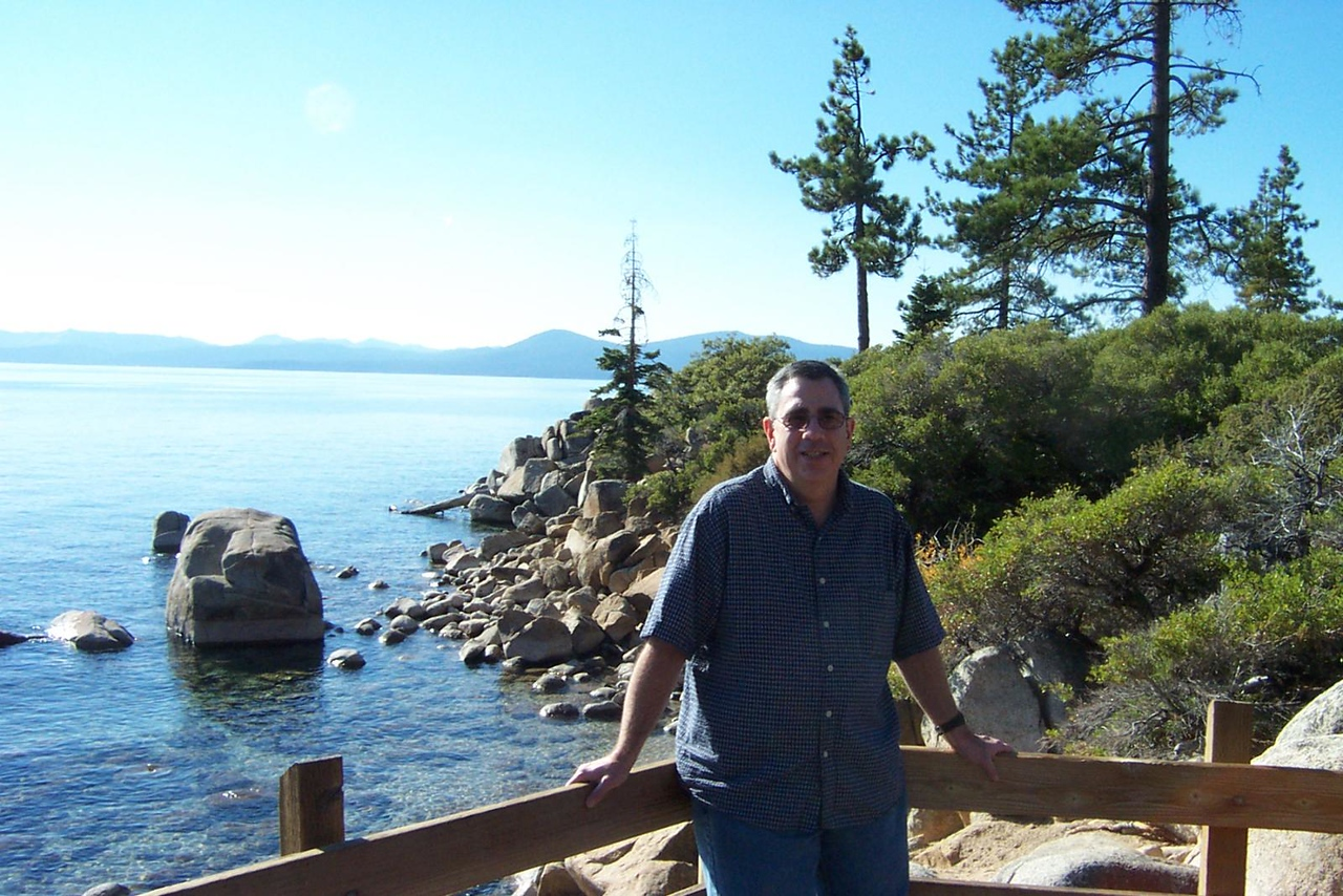 Dave on the shore of the lake.<br /> [Lake Tahoe]