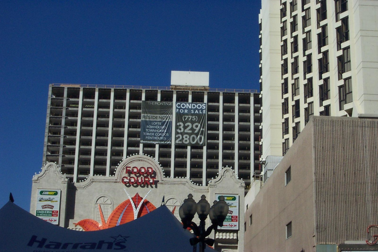 The Flamingo's gutted hotel tower, as seen from Virginia Street. Fitzgerald's tower is at right.<br /> [Reno]