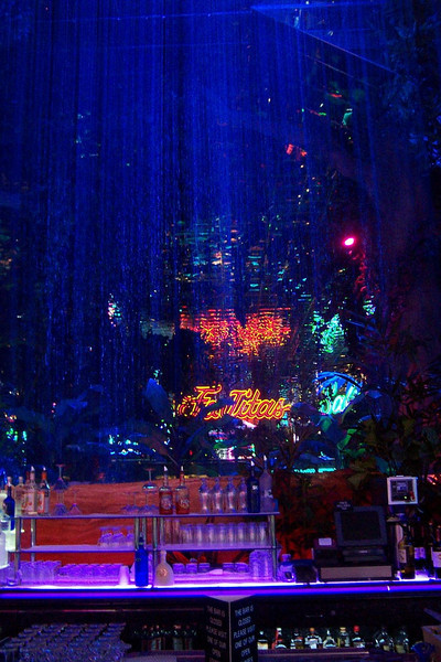 A waterfall separates a bar from the Peppermill's Island Buffet (the sign inside the buffet says Fajitas!).<br /> [Reno]