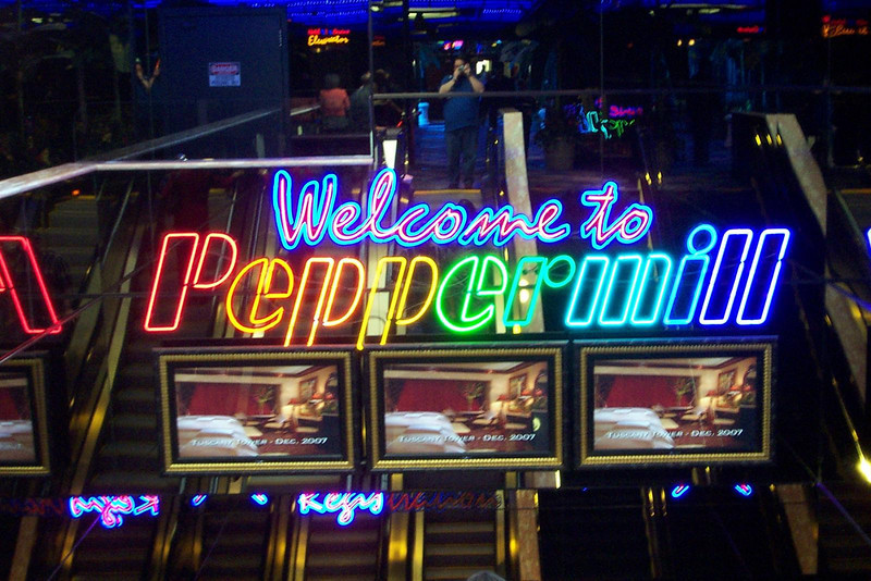 The Peppermill is our favorite casino that's not downtown.  They've been doing lots of construction the last few years, and the entrance was all new from the last time we were here.<br /> [Reno]