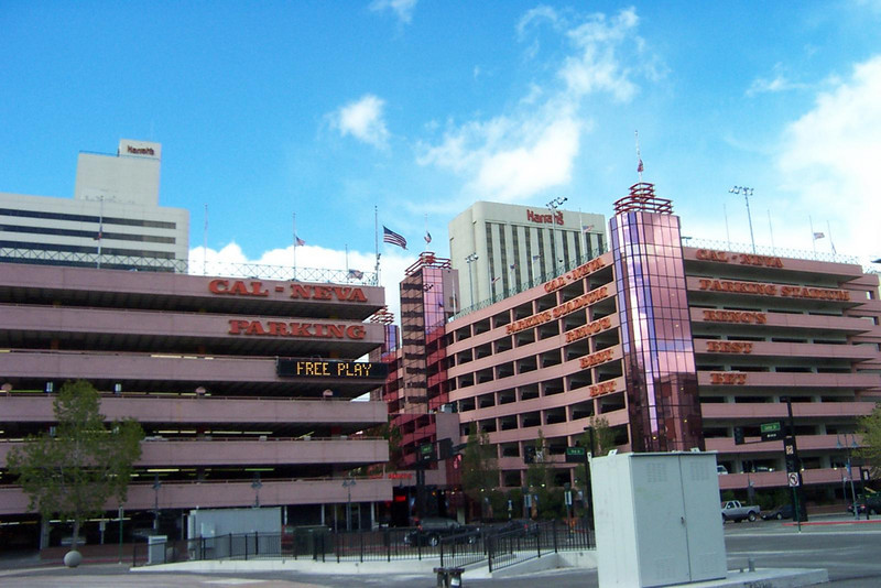 This is the Cal-Neva's parking garage, which is in-between Harrah's and the river.  Harrah's two hotel towers are seen behind it.  Center Street runs between the two halves of the garage, as well as Harrah's two towers.<br /> [Reno]