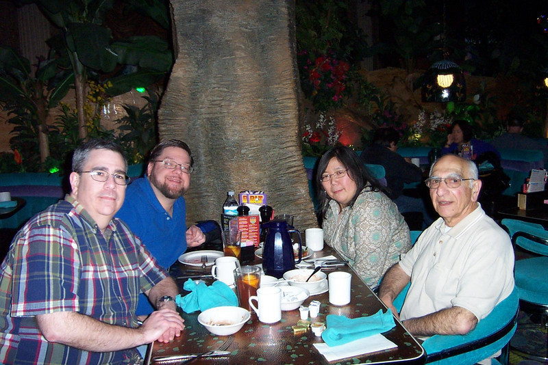 Dave, Jon, Kay and Lou under a fake tree at the Island Buffet.  This is undoubtedly one of the top buffets in town, and a big part of the reason we love the Peppermill so much!<br /> [Reno]