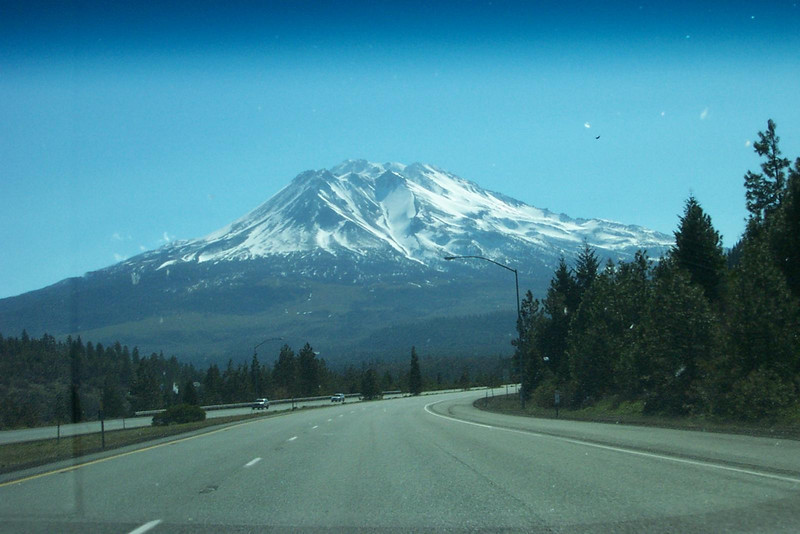Another shot of Mount Shasta, taken from inside the car.  This is about the closest you get to the mountain on I-5.  It's purdy!<br /> [On the road to Reno, in northern California]
