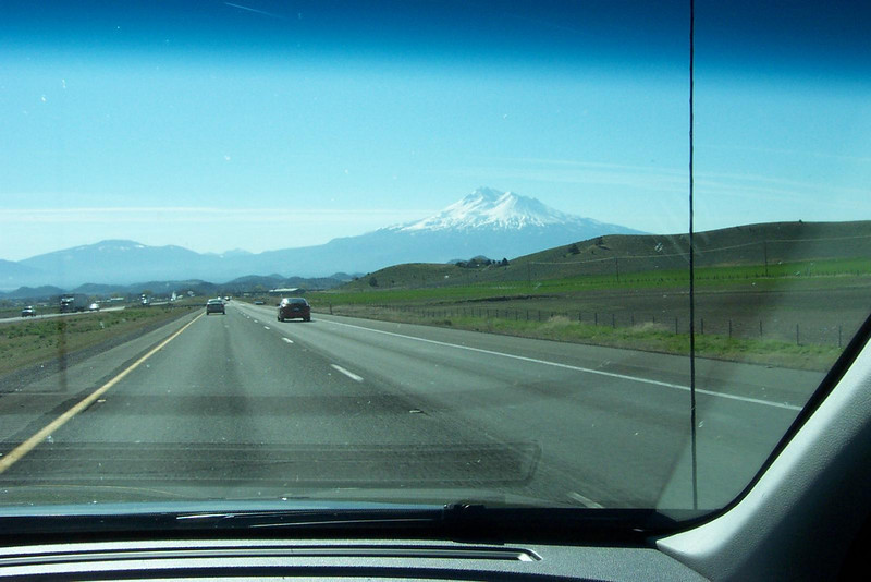 Mount Shasta in northern California, seen through the windshield as we drove on I-5.<br /> [On the road to Reno]