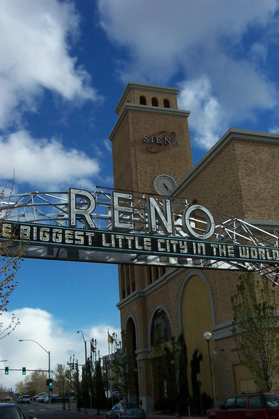 Back downtown, and a block away from the river, the old Reno arch spans the street in front of the Siena hotel and casino.<br /> [Reno]