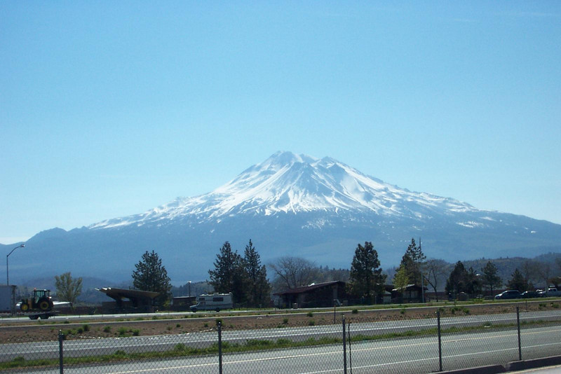 Here's a better view of Mount Shasta from the rest area outside Weed, CA.<br /> [On the road to Reno]