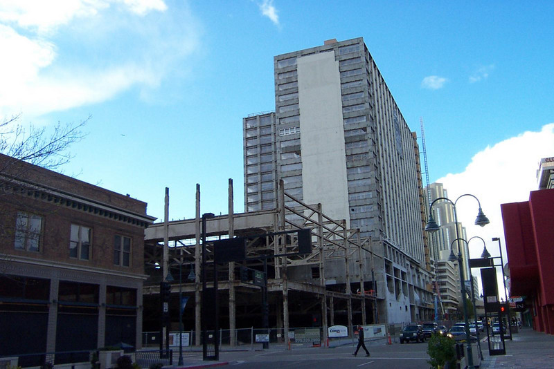 The shell of the former Flamingo Hilton, being turned into condos. The Silver Legacy is behind it.<br /> [Reno]