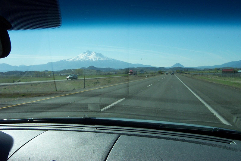 Now you can see Little Shasta straight ahead, to the right of Mount Shasta.  I don't know if that's the official name, but that's what I call it!<br /> [On the road to Reno, in northern California]