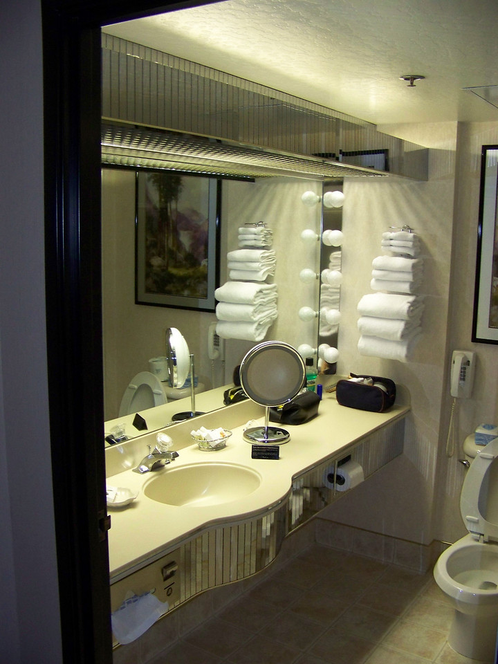 This was our Peppermill room's bathroom.<br /> By the end of the trip, everyone had moved downtown to either Harrahs or Fitzgeralds.<br /> [Reno]