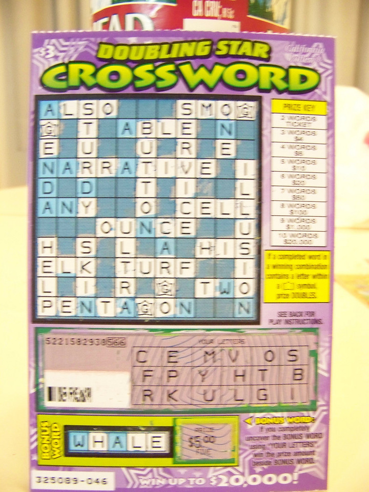 One of the reasons we enjoy driving to Reno is the opportunity to buy Oregon and California scratch tickets on the way!  On this $3 California crossword, I got 7 words--smog, cell, his, elk, turf, help, and service.  How much did I win...?<br /> [On the road to Reno]