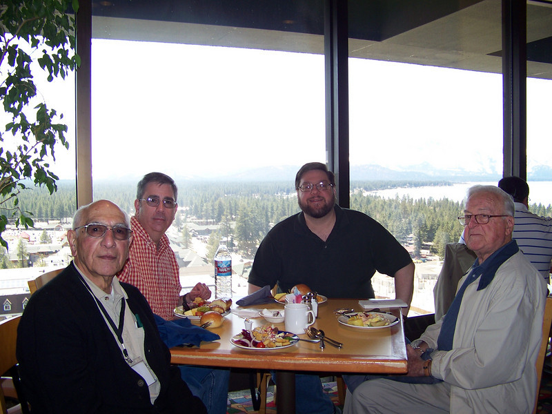 We enjoyed lunch at Harrah's buffet, which is up on the top floor of the hotel.  Left to right are Dave's dad Lou, Dave, me, and my dad Ken.<br /> [Lake Tahoe]