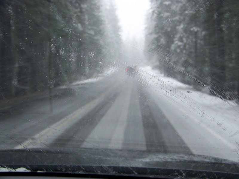 Ack!!! Now it's sticking to the road!  We weren't prepared for this at all!<br /> [On the road to Reno, in Northern California]