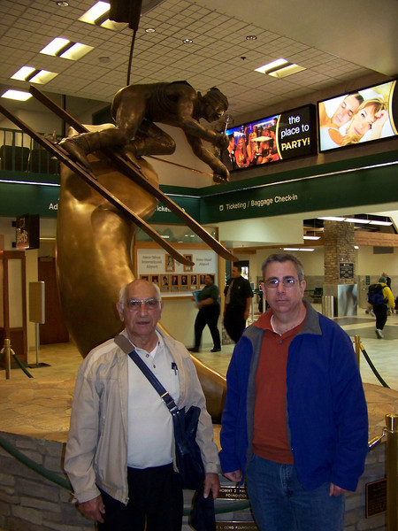 We found Lou!  He and Dave posed by the skier statue.<br /> [Reno airport]