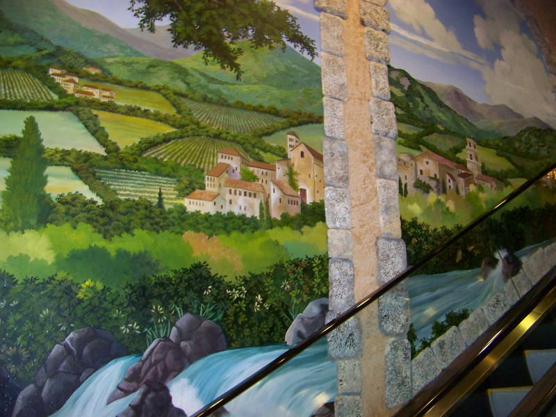 Here's some of the Peppermill's Tuscan theming.  This mural is next to a short escalator near the hotel desk.<br /> [Reno]