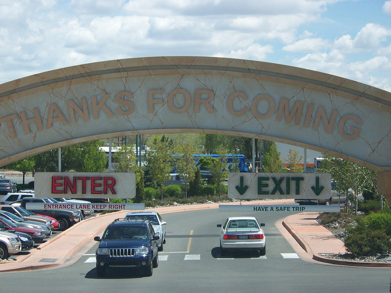 "Alas, we were only at the Peppermill for our first two nights.  This arch that says ""Thanks for coming"" is over the exit from their parking garage.  At least we weren't going far...<br /> [Reno]"