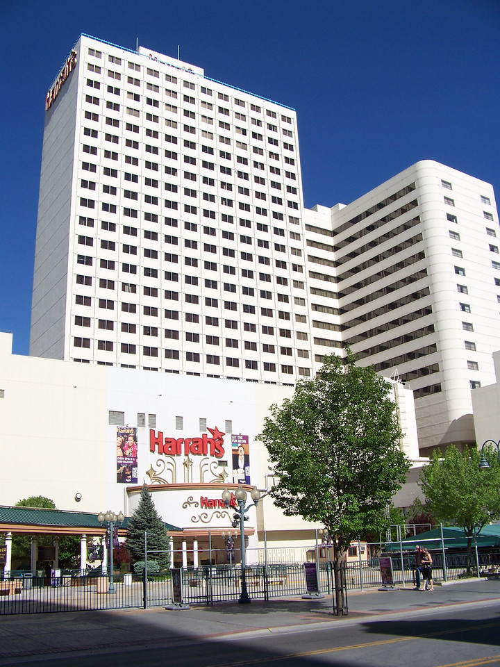 While we were downtown, we all stayed at Harrah's.  This is their larger west tower.  All three of our rooms were in the east tower, which is not visible in this shot.<br /> [Reno]