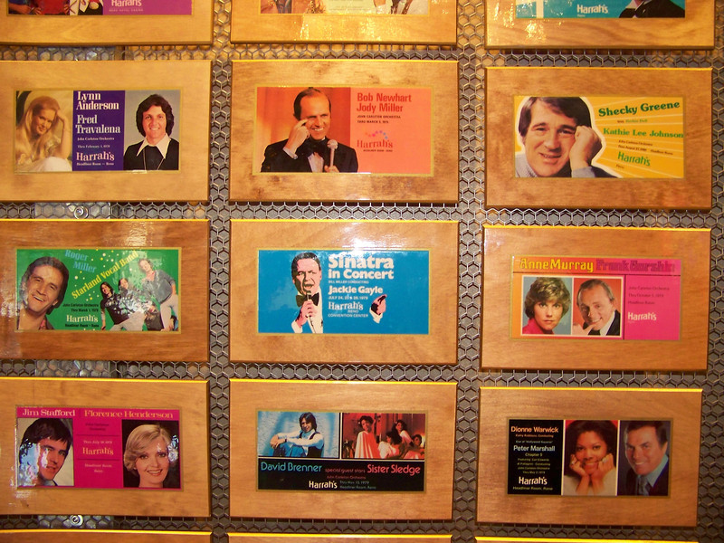 """Some of the acts that have played at Harrah's over the years.  From the top, left to right:  Lynn Anderson and Fred Travalena; Bob Newhart; Shecky Greene; Roger Miller and the Starland Vocal Band (""""Afternoon Delight""""); Frank Sinatra; Anne Murray and Frank Gorshin; Jim Stafford and Florence Henderson; David Brenner and Sister Sledge; Dionne Warwick and Peter Marshall.<br /> [Reno]"""