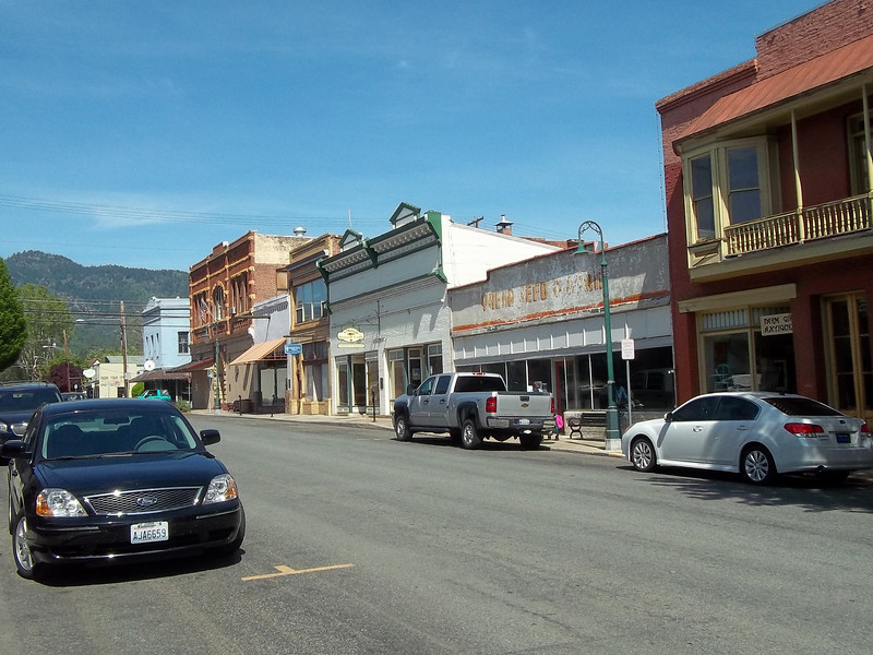 Historic buildings along West Miner Street (that's Dave's car at left).<br /> [Yreka, CA]