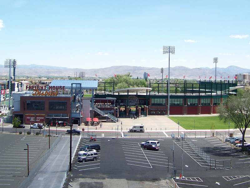While Dave got the car ready for the car wash, I walked around Harrah's parking garage and took some photos of the surrounding area.  This is the stadium for their minor league baseball team, the Reno Aces.  The stadium is a couple blocks east of Harrah's.<br /> [Reno - shot from Harrah's parking garage]