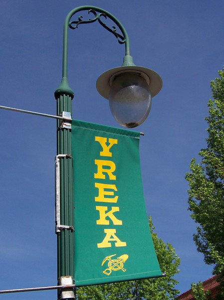 These banners were on the downtown light poles.  My little taste of Yreka made me want to come back and spend some time here when the businesses are actually open!  :-)<br /> [Yreka, CA]