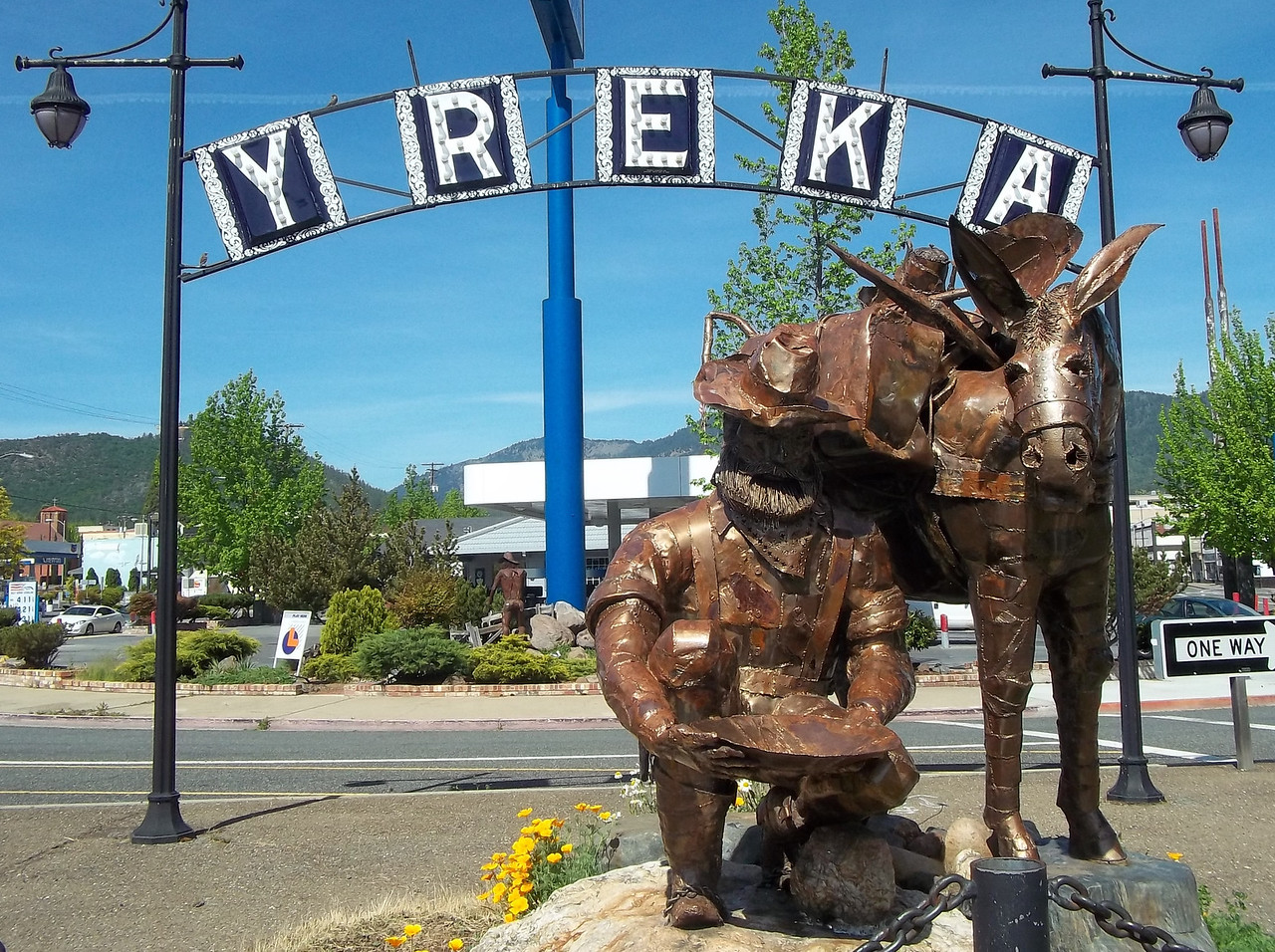 Hooray--it's Reno roadtrip 2013!  On the way there, Dave and I spent our first night (Saturday, May 11) at the Super 8 Motel in Yreka, CA.  This statue of a miner and his donkey are in central Yreka, which was a boom town during California's gold rush.<br /> Note: My camera battery died here, so most of the pictures in Yreka were taken by me using Dave's camera.