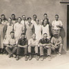 Builders and others of Oak Lodge dining shed:<br /> Standing: Bob Scholz, Olga Mader, Roy Williams, Gladys Geue, (A workman employed by  Bob Scholz .. name ?) Norma Loechel, Willie Hughes, Frieda Schmidt, Angas Love, Winnie Hopkins, Dora Geue, John Brasted, Albert Shilling.<br /> Seated: Bob Bell, Clem Geue,   Percy Attwoob, Clyde Crettenden, Richard Harmann.