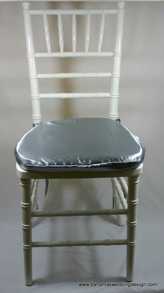 Satin Chair Pad Cover   Silver