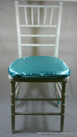 Satin Chair Pad Cover - Aqua