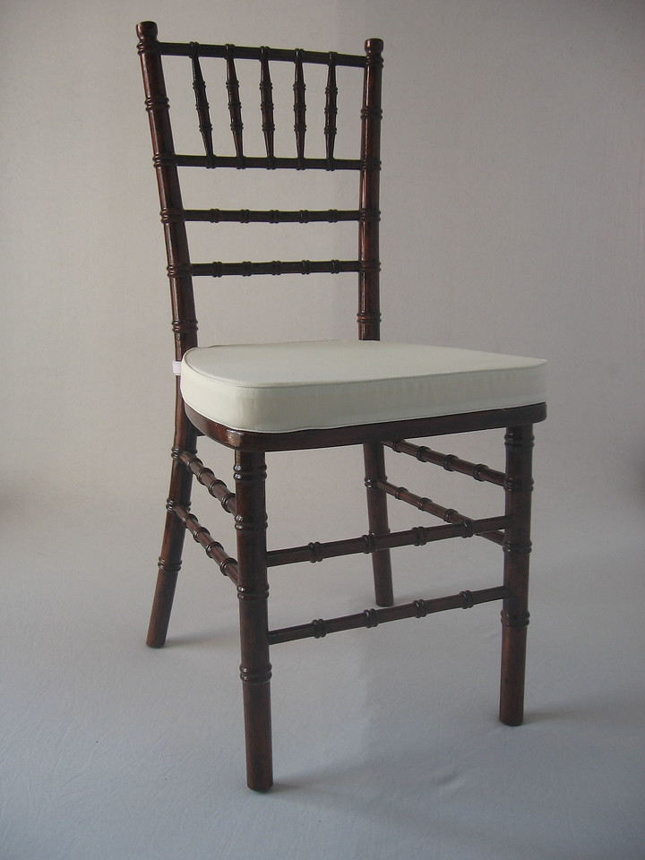 Mahogany Chivari Chair (ivory chair pad included) CALL FOR PRICING & AVAILABILITY