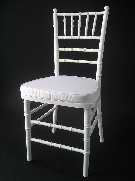 White Chivari Chair (white chair pad included) CALL FOR PRICING & AVAILABILITY