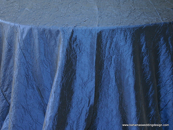 "Crushed Taffeta - Navy Available Linens: 132"" Round, 90"" X 156"""