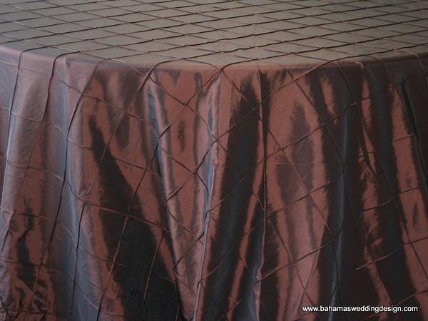 "4"" Pintuck Taffeta - Chocolate Available Linens: 132"" Round"