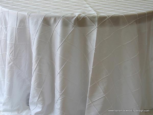 "4"" Pintuck Taffeta - White Available Linens: 132"" Round"