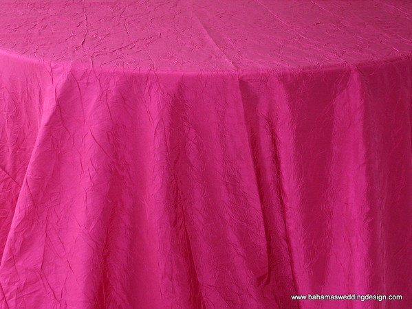 "Crushed Taffeta - Fuchsia Available Linens: 132"" Round"