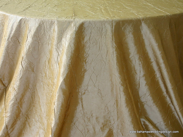 "Crushed Taffeta - Gold Available Linens: 132"" Round, 120"" Round, 90"" X 156"""
