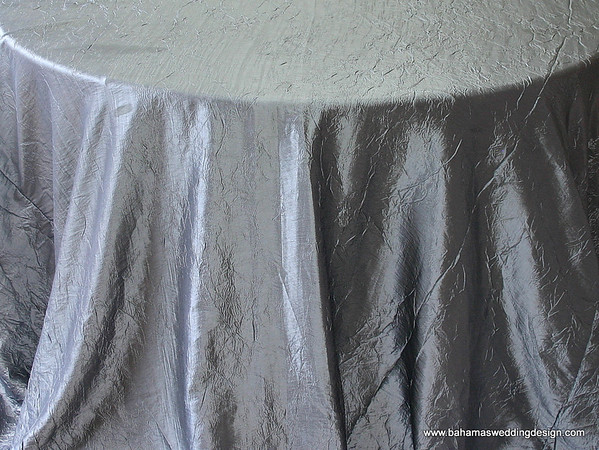 "Crushed Taffeta - Platinum Available Linens: 132"" Round"