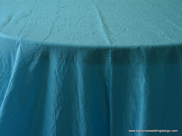 "Crushed Taffeta - Ice Blue Available Linens: 132"" Round"