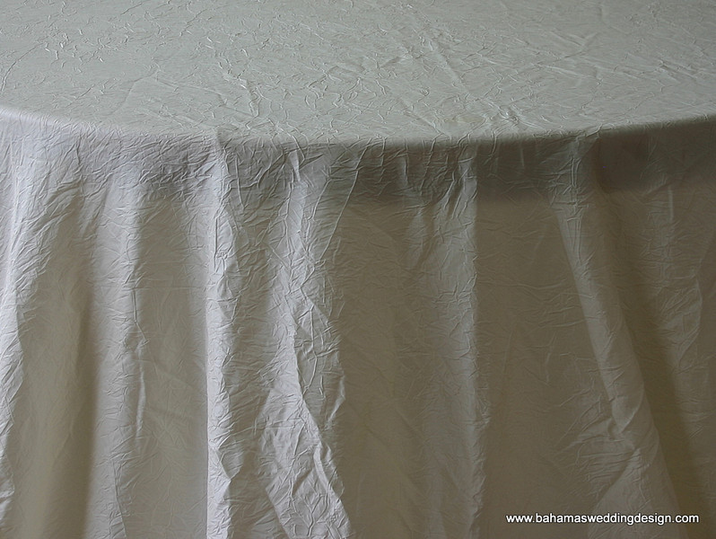 "Crushed Taffeta - Ivory Available Linens: 132"" Round, 120"" Round, 90"" X 156"", Napkin"