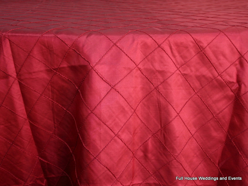 "2"" Pintuck Taffeta - Cranberry (Dark Red) Available Linens: 132"" Round"