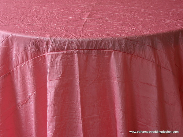 "Crushed Taffeta - Pink Available Linens: 132"" Round"