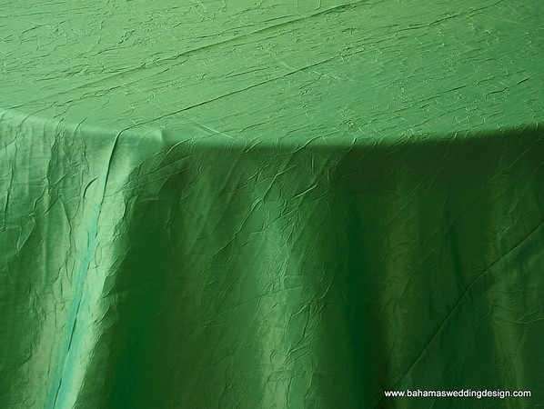 "Crushed Taffeta - Kelly Green Available Linens: 132"" Round"