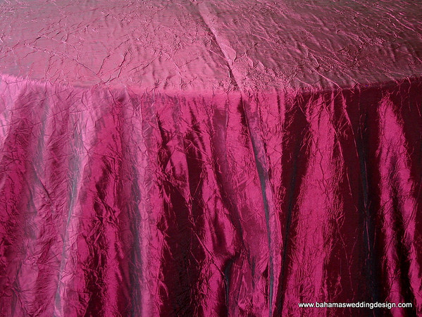 "Crushed Taffeta - Burgundy Available Linens: 132"" Round"