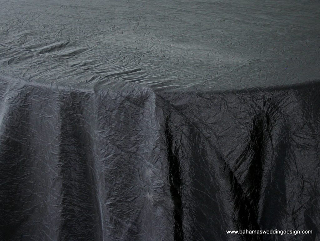 """Crushed Taffeta - Black Available Linens: 132"""" Round, 90"""" X 156"""""""