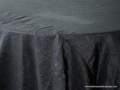 "Crushed Taffeta - Black Available Linens: 132"" Round, 90"" X 156"""
