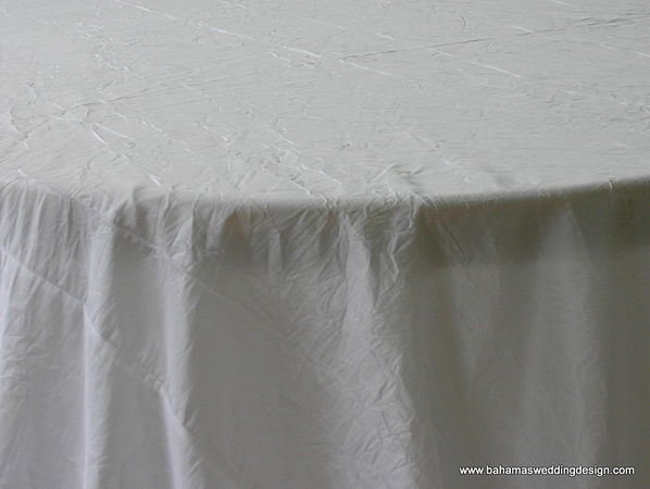 "Crushed Taffeta - White Available Linens: 132"" Round, 120"" Round, 90"" X 156"""