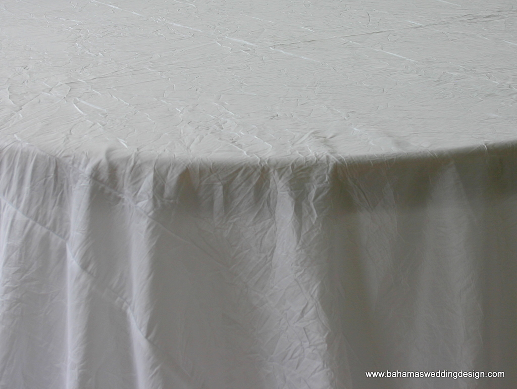 """Crushed Taffeta - White Available Linens: 132"""" Round, 120"""" Round, 90"""" X 156"""""""