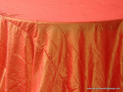 "Crushed Taffeta - Tangerine Available Linens: 132"" Round"