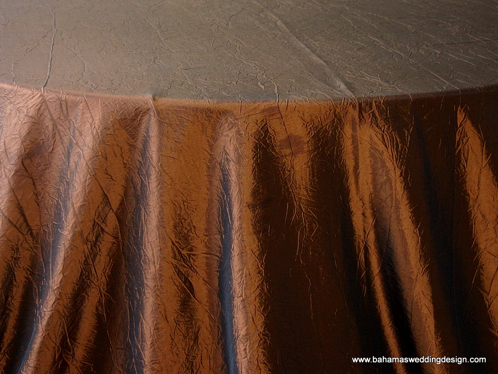 """Crushed Taffeta - Copper Available Linens: 132"""" Round, 120"""" Round, Chair Tie"""