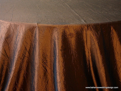 "Crushed Taffeta - Copper Available Linens: 132"" Round, 120"" Round, Chair Tie"